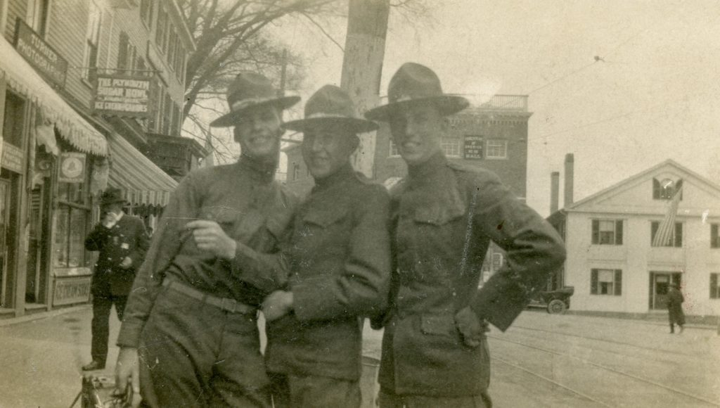 Geoffrey Perrier (center) and two of his friends in uniform on Main Street in Plymouth, ca. 1916.