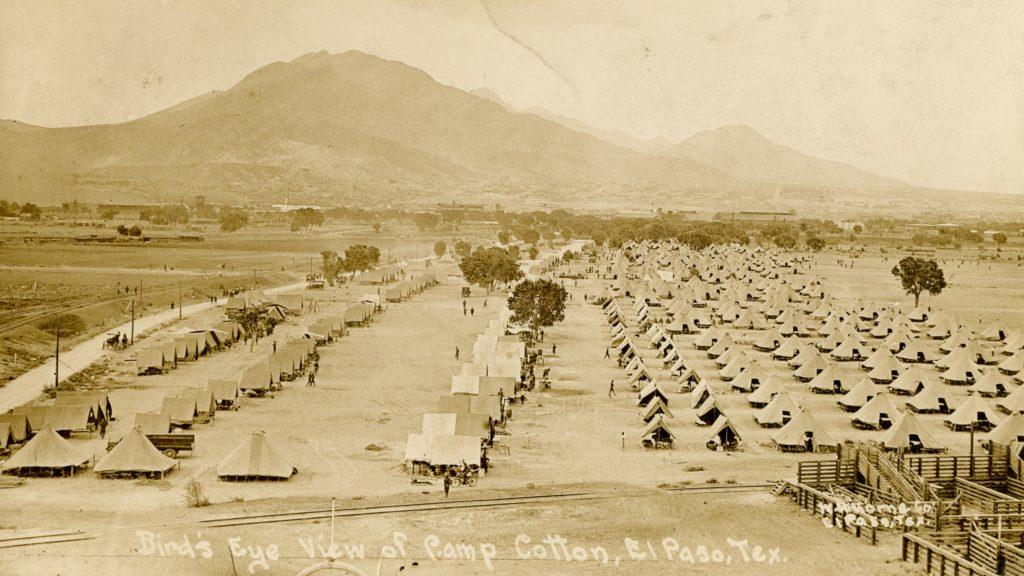 A bird's-eye view of Camp Cotton near El Paso, Texas, ca. 1916.