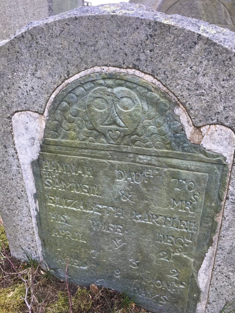 Gravestone of Hannah Bartlett d. 1732