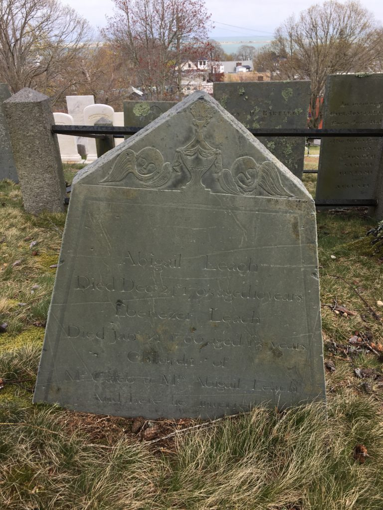Gravestone of Abigail and Ebenezer Leach d. 1795/96