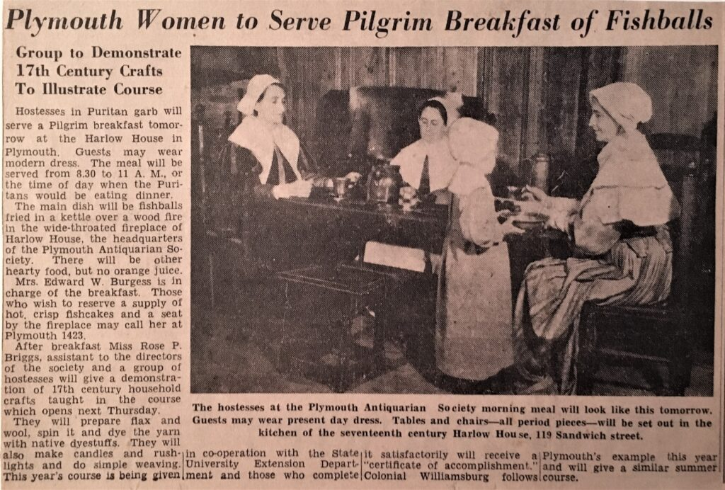 "This article from the Boston Evening Transcript of July 1, 1939 reassured potential guests that they ""may wear modern dress"" to the Pilgrim Breakfast. (PAS Archives)"