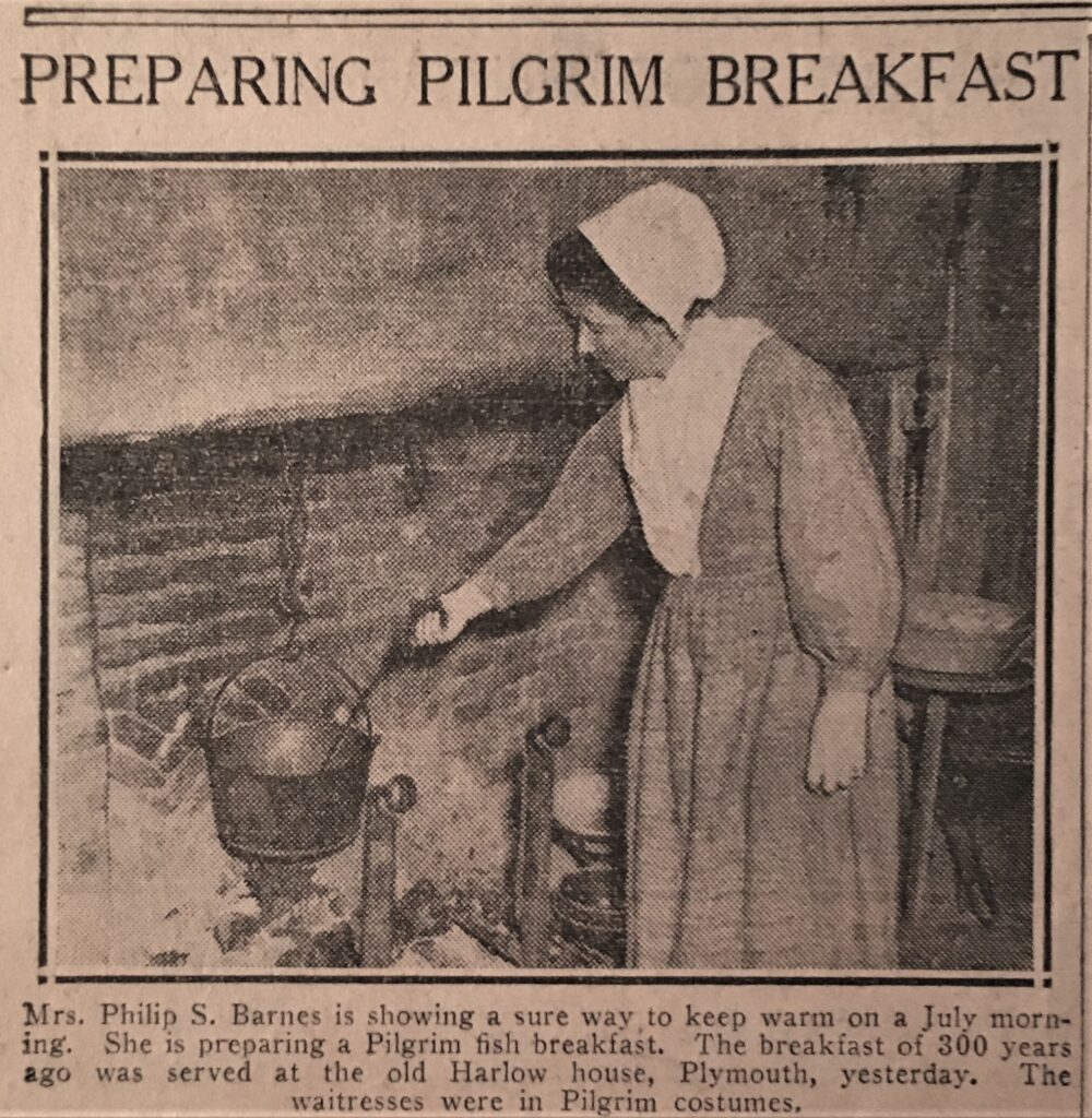 "Newsclip featuring a photograph of Mercie Hatch Barnes ""showing a sure way to keep warm on a July morning"" while cooking over a fire at the Pilgrim Breakfast, ca. 1940."