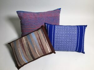 These beautiful handmade pillows by Harlow volunteer Leslie Lyman will be featured in our online shop. Leslie created the woven material on the loom in the Harlow classroom last summer.
