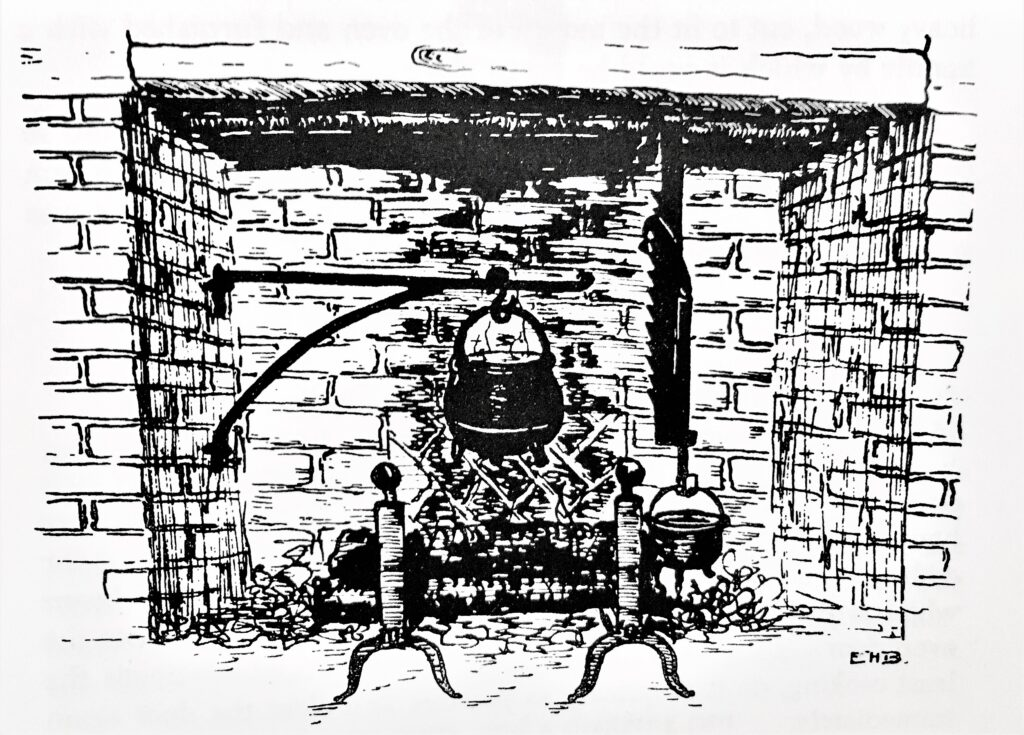 PAS member Ellen Hatch Brewster illustrated The Plimoth Colony Cook Book, which was published by the Antiquarian Society in 1957. This sketch of a colonial hearth shows the crane holding a pot on the left and a trammel on the right. The crane (introduced in the 18th century) could swing in and out, allowing pots to be adjusted away from the fire. The trammel was an adjustable hook, which could be used to raise or lower a pot and therefore adjust the temperature.